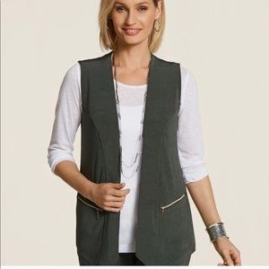 Travelers by CHICO'S Dark Olive Green Vest Large